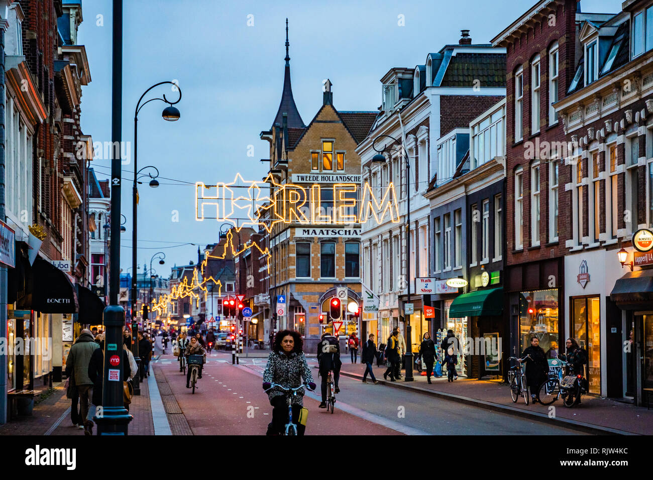 Haarlem /Netherlands - DEC 28, 2018:One of the street in Haarlem in Netherlands at evening after christmas. - Stock Image