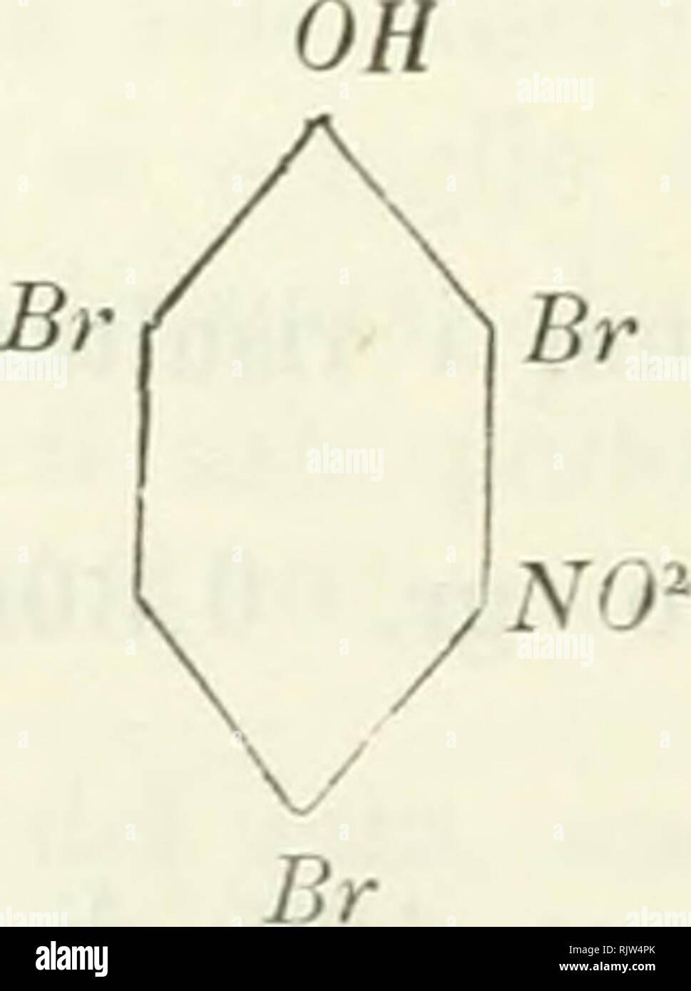 . Atti della R. Accademia delle scienze di Torino. Science; Natural history. 808 a. DACCOMO Da cui: trovato C p. 100 = = 20,48 E » 1,22 N » â Br » â II 4,12 III G9,13 Come si vede, la composizione centesimale di questa sostanza corrisponde a quella del tribroraamidofenolo, pel quale si calcola : C p. 100 = 20,80 H » 1,16 N » 4,04 Br » 69,06 . Il tribromometamidofenolo cristallizza facilmente in bellis- simi agili setacei, incolori quando sono appena preparati, ma che imbruniscono rapidamente per l'azione della luce. Fonde a 117° in un liquido bruno; è poco solubile nell'acqua fredda, m Stock Photo