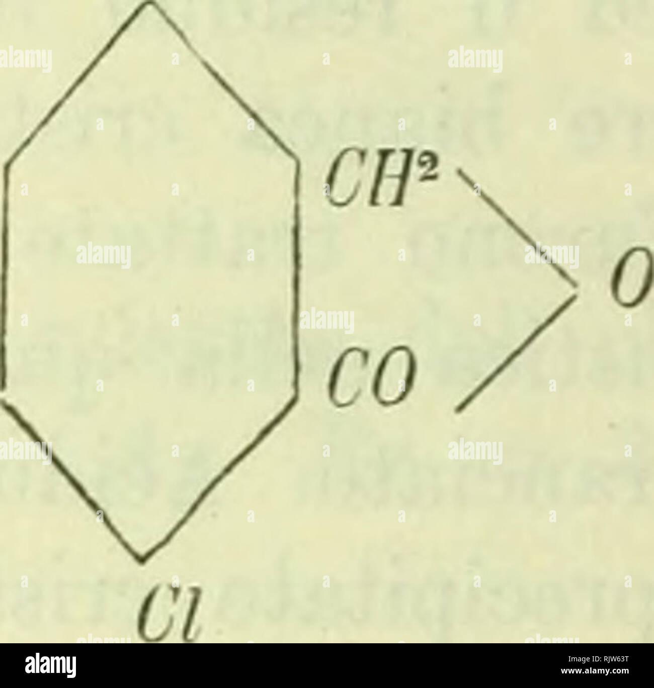 """. Atti della R. Accademia delle scienze di Torino. Science; Natural history. 32t> J. GUAKE.SCHI E 1'. BIGINELLI Per la clorobromoftalide C^ H^ Ci Br 0' si calcola; C = 38,80 H = 1,G1 Br = 32,32 CI = 14,34 . Si nota nelle analisi un eccesso di carbonio specialmente nelle due prime in cui il prodotto non era perfettamente bianco. La ci orohr omo fialide si depone dall'alcol in bei cristalli ta- bulari romboedrici, brillanti, fusibili a 179°,5-180"""". Sublima. Si scioglie poco nell'acqua. Non dà reazione colorata col fenolo ed acido solforico. Ha tutti i caratteri dei composti simili che s - Stock Image"""
