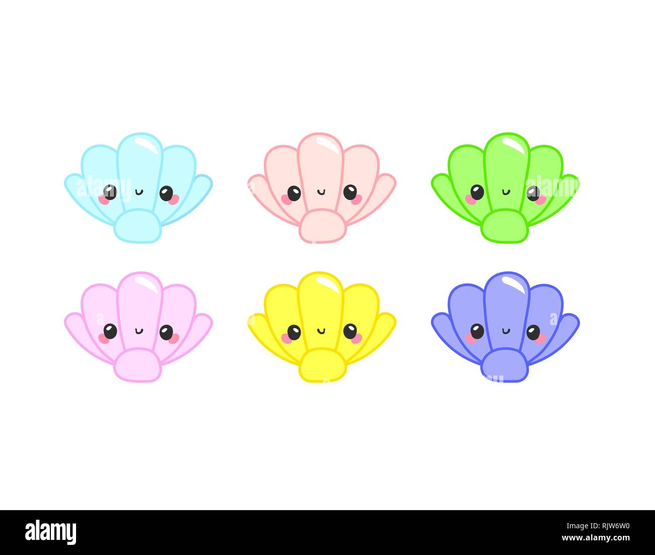 Cute colorful cartoon sea animals in circle for baby designs