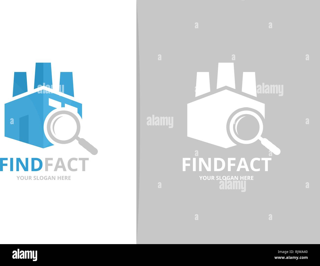 Factory and loupe logo combination. Unique manufacturing and search logotype design template. - Stock Vector