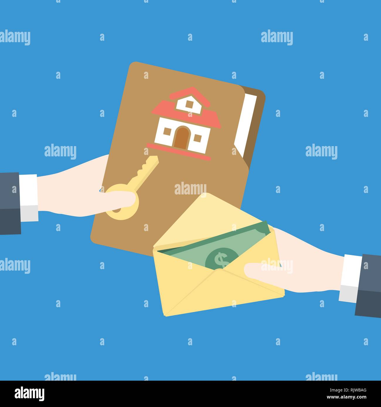 Businessman Hand gives key to other hand with money cash for home, for Real Estate Concept-Vector flat design - Stock Image