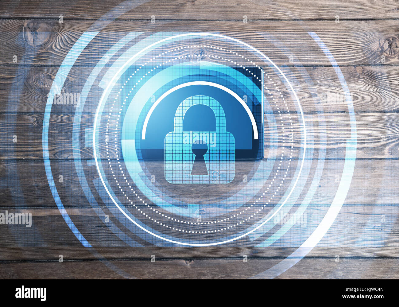 Concept of computer access with media lock icon on tablet screen - Stock Image