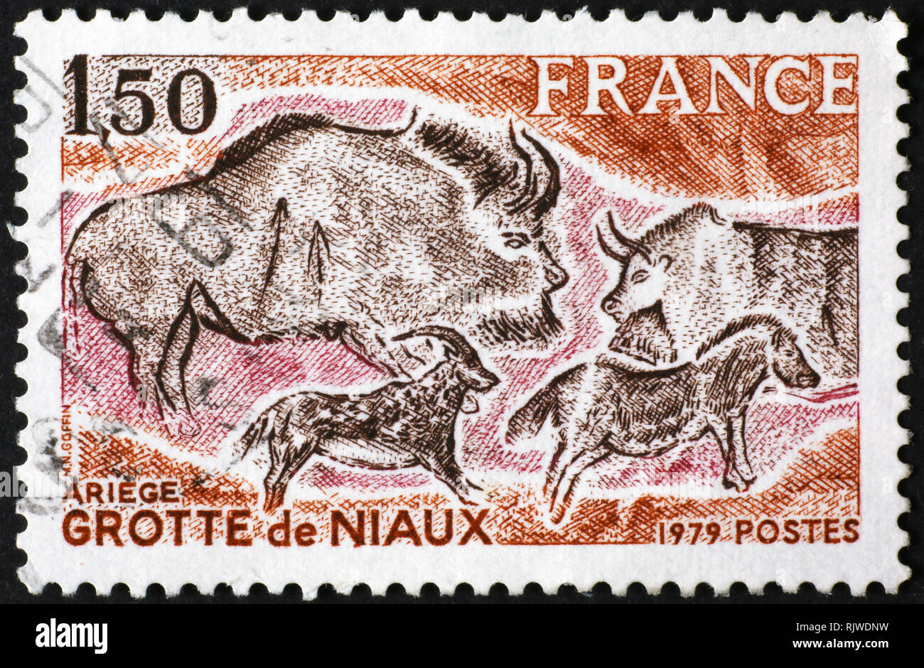 Prehistoric depictions of Niaux on french postage stamp - Stock Image
