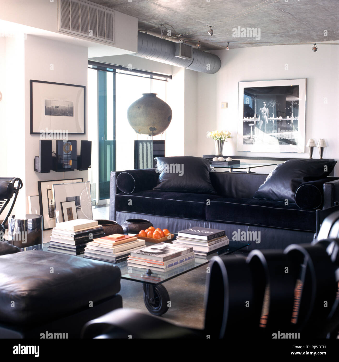 Strange Black Leather Furniture In Apartment Living Room Stock Photo Beatyapartments Chair Design Images Beatyapartmentscom