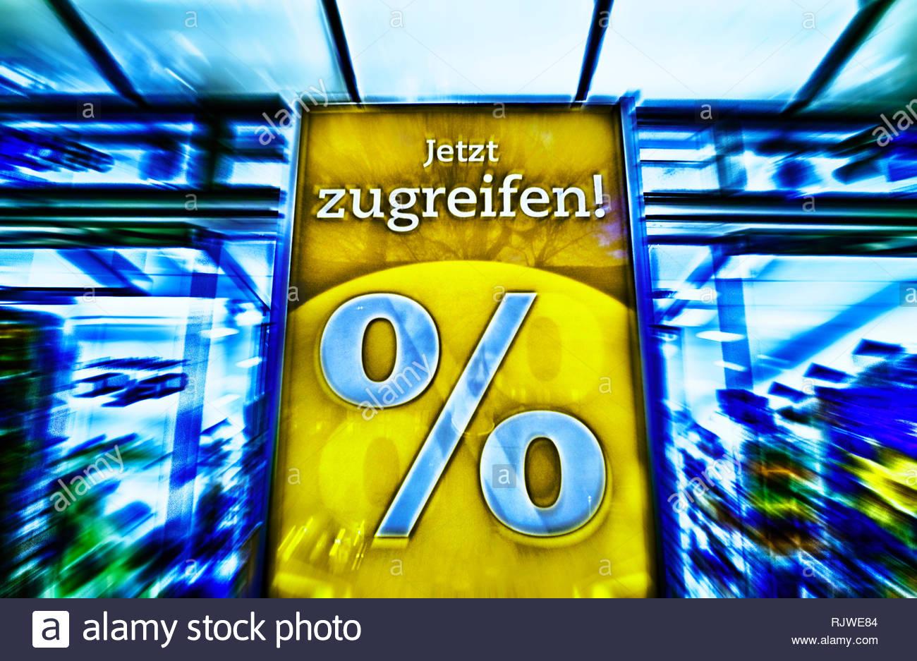 Germany. sale, special offer, bargain, discount, sales per cent. [M]   Deutschland. Schlussverkauf, Schnaeppchen, Discount, Verkaufsprozente, Prozente - Stock Image