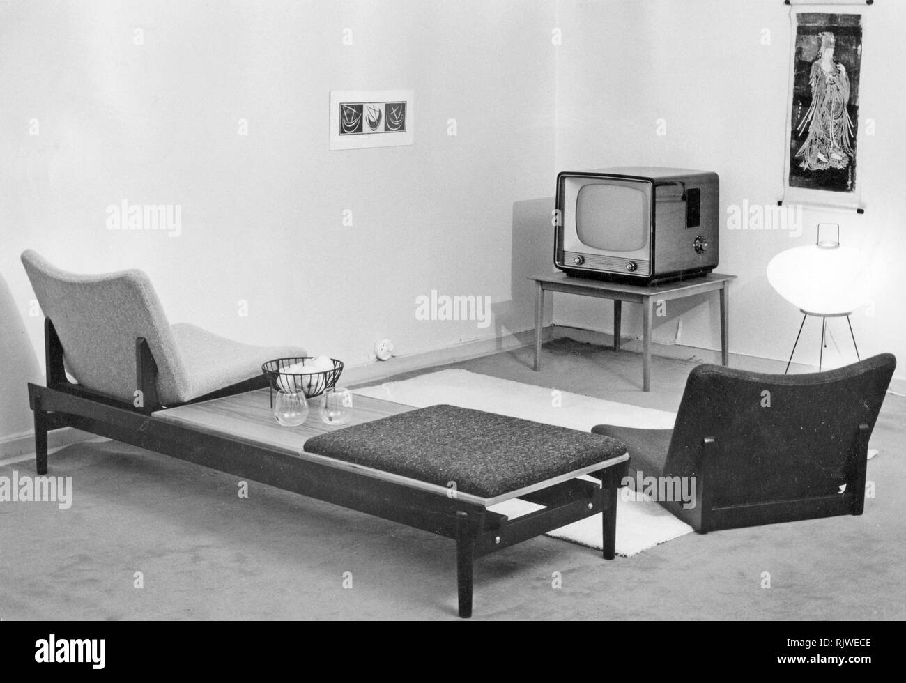 Television In The 1950s A Tv Set On A Small Table In A Room In Home