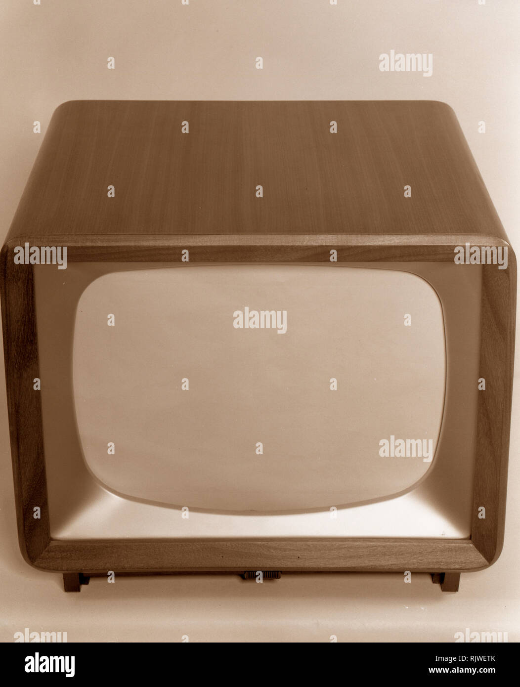 Television in the 1950s. A typical tv furniture in a wooden casing with a small tv-screen. ref 3789. Sweden 1958 - Stock Image