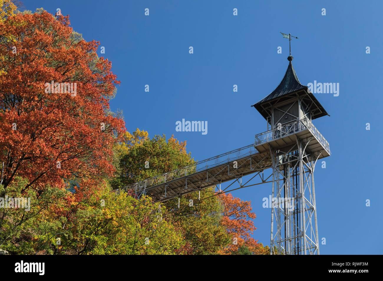 Passenger lift, connects Bad Schandau with Ostrava Scheibe, Art Nouveau, Saxon Switzerland, Saxony, Germany - Stock Image