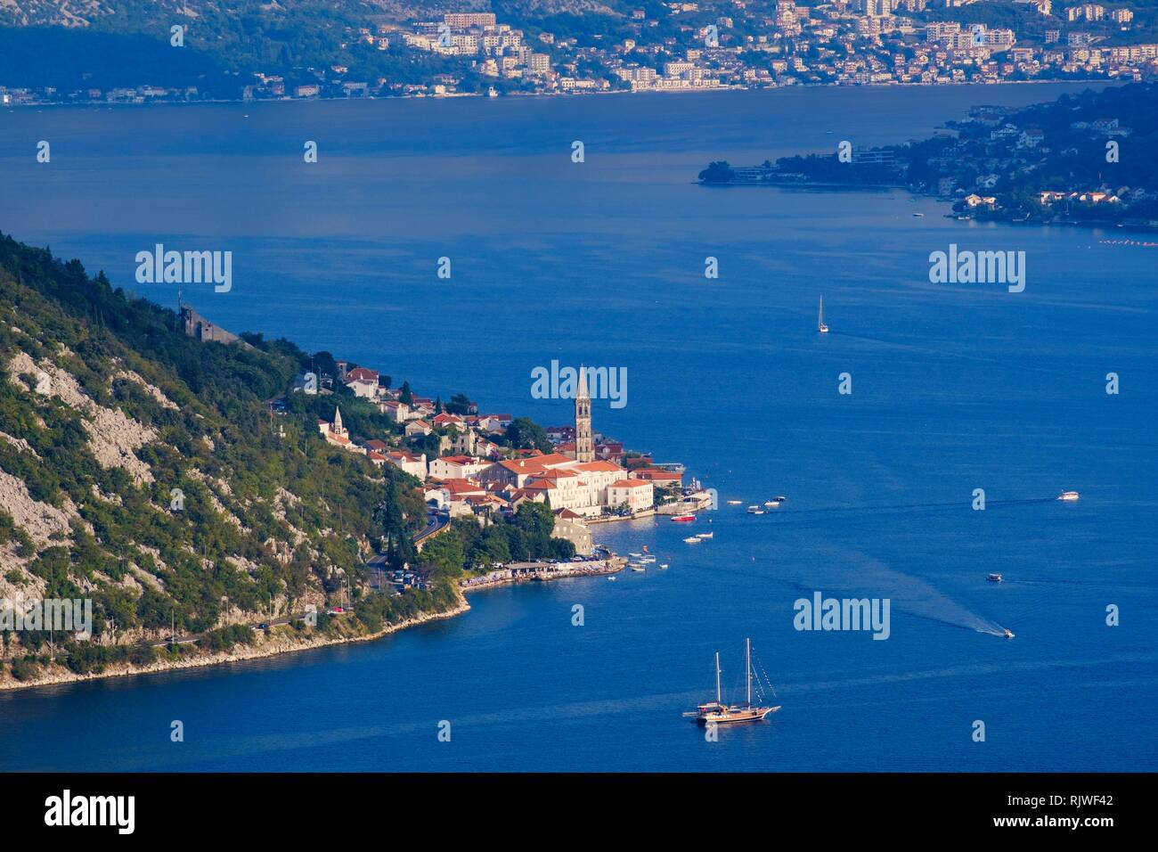 Perast, Bay of Kotor, Province of Kotor, Montenegro Stock Photo