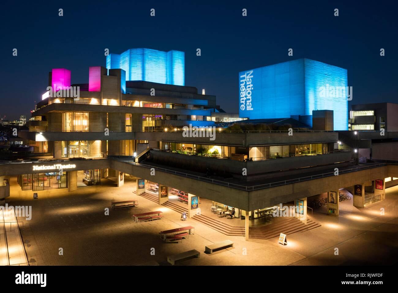 National Theatre, night shot, Southwark, London, England, Great Britain Stock Photo