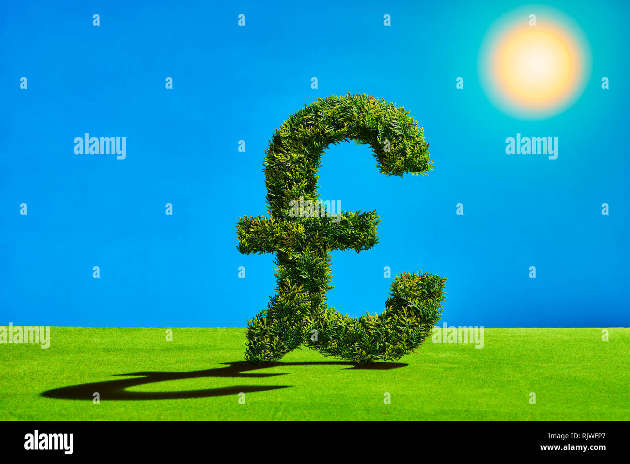 Topiary Tree in the Shape of a Pound Symbol Stock Photo