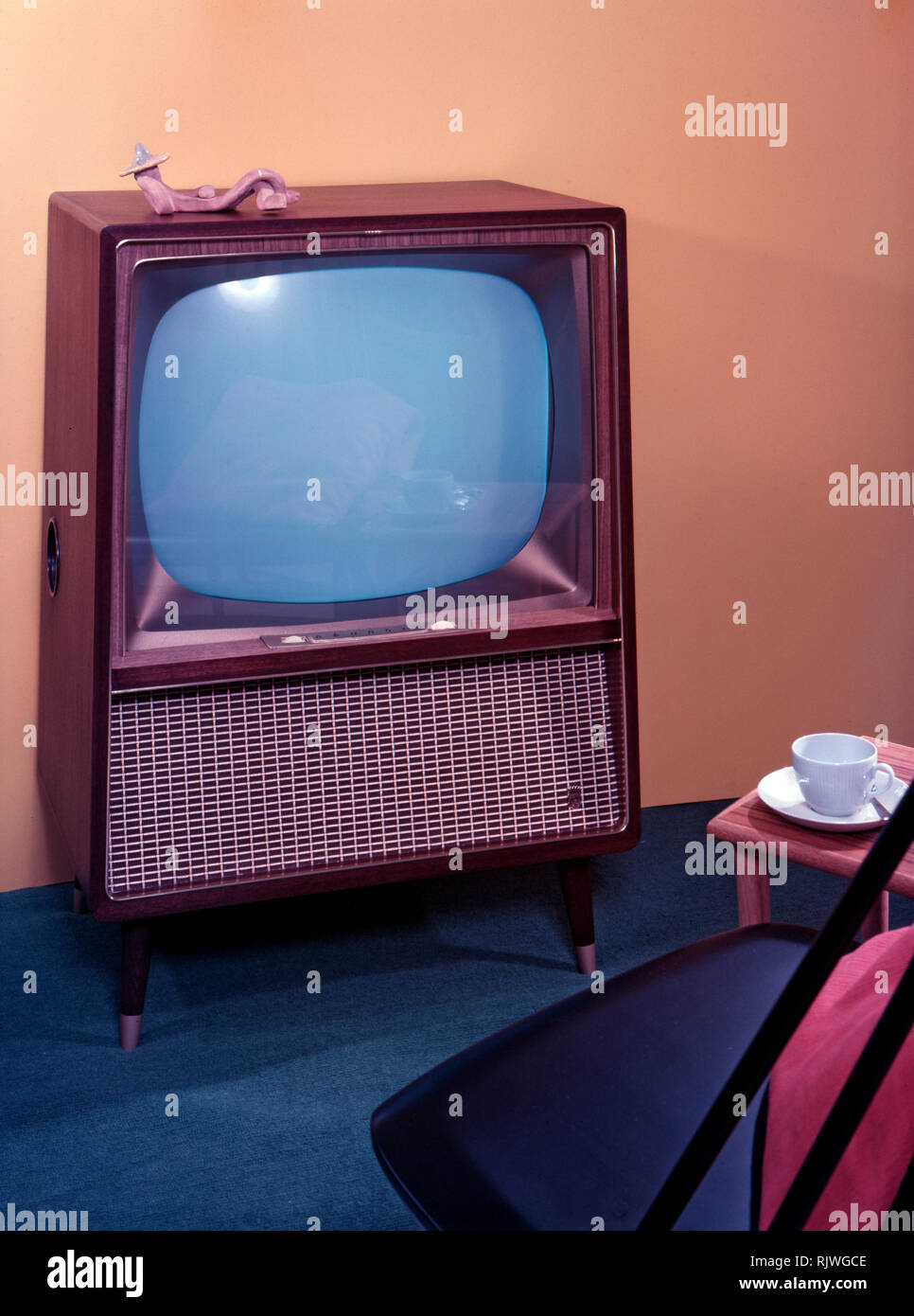 Television in the 1950s. A Grundig television set that was available for customers 1957. A typical 1950s design with a wooden case. ref BV65-4 - Stock Image