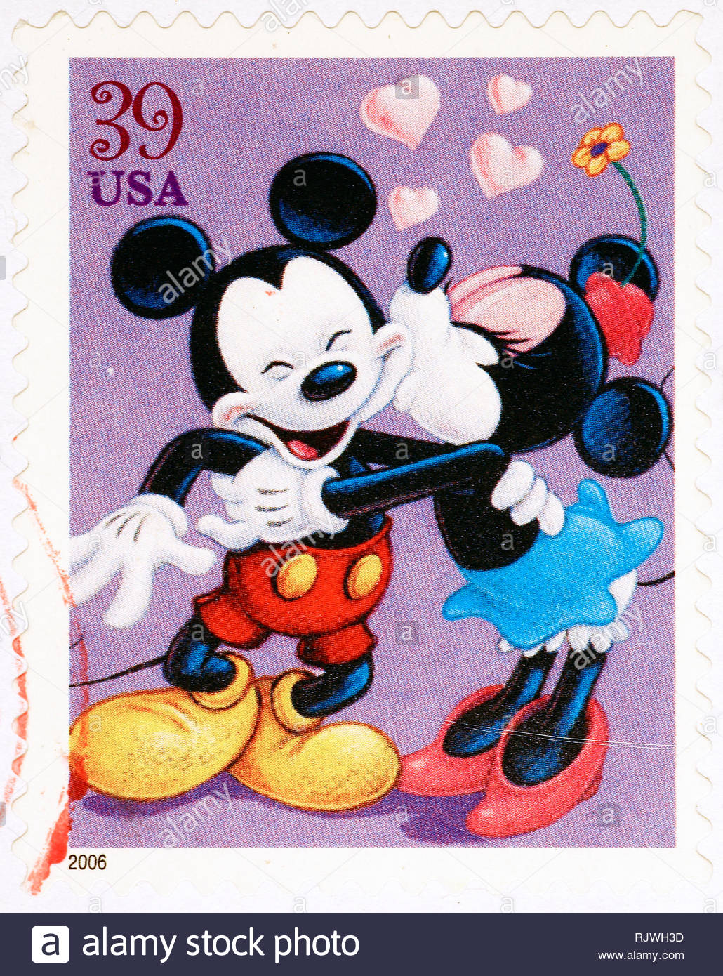 Mickey Mouse And Minnie On American Postage Stamp