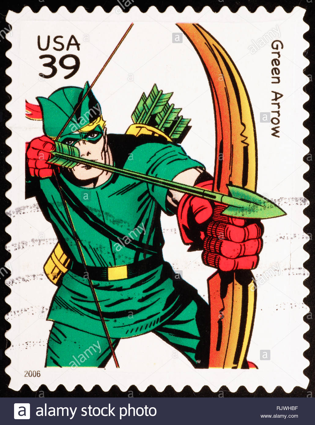 Superhero Green Arrow o american postage stamp - Stock Image