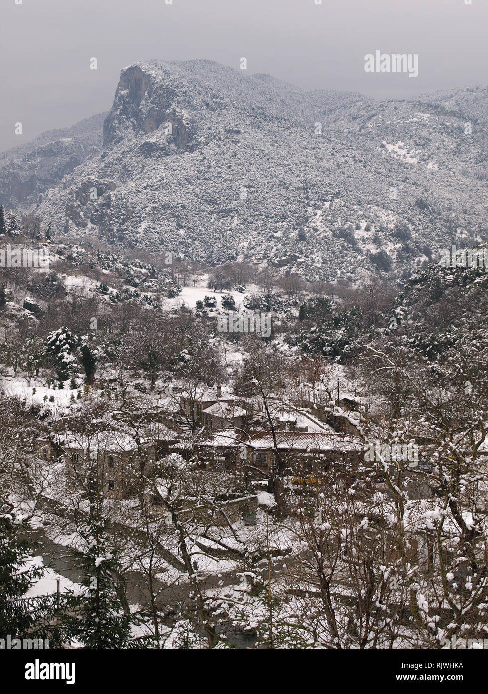 View to Olympus mountains covered in snow,  from Litohoro in Pieria Greece. - Stock Image