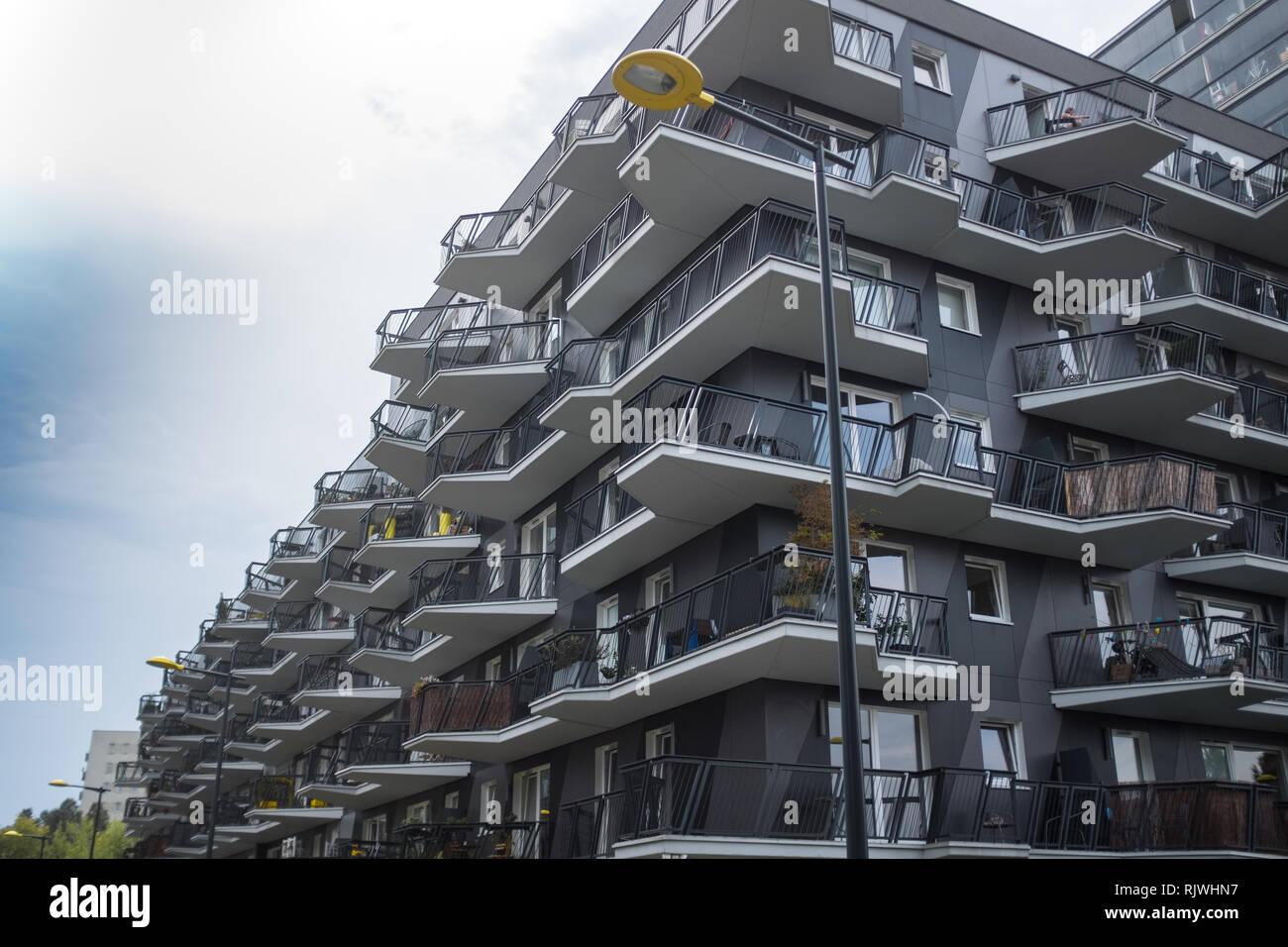 modern apartment block with balcony's Stock Photo