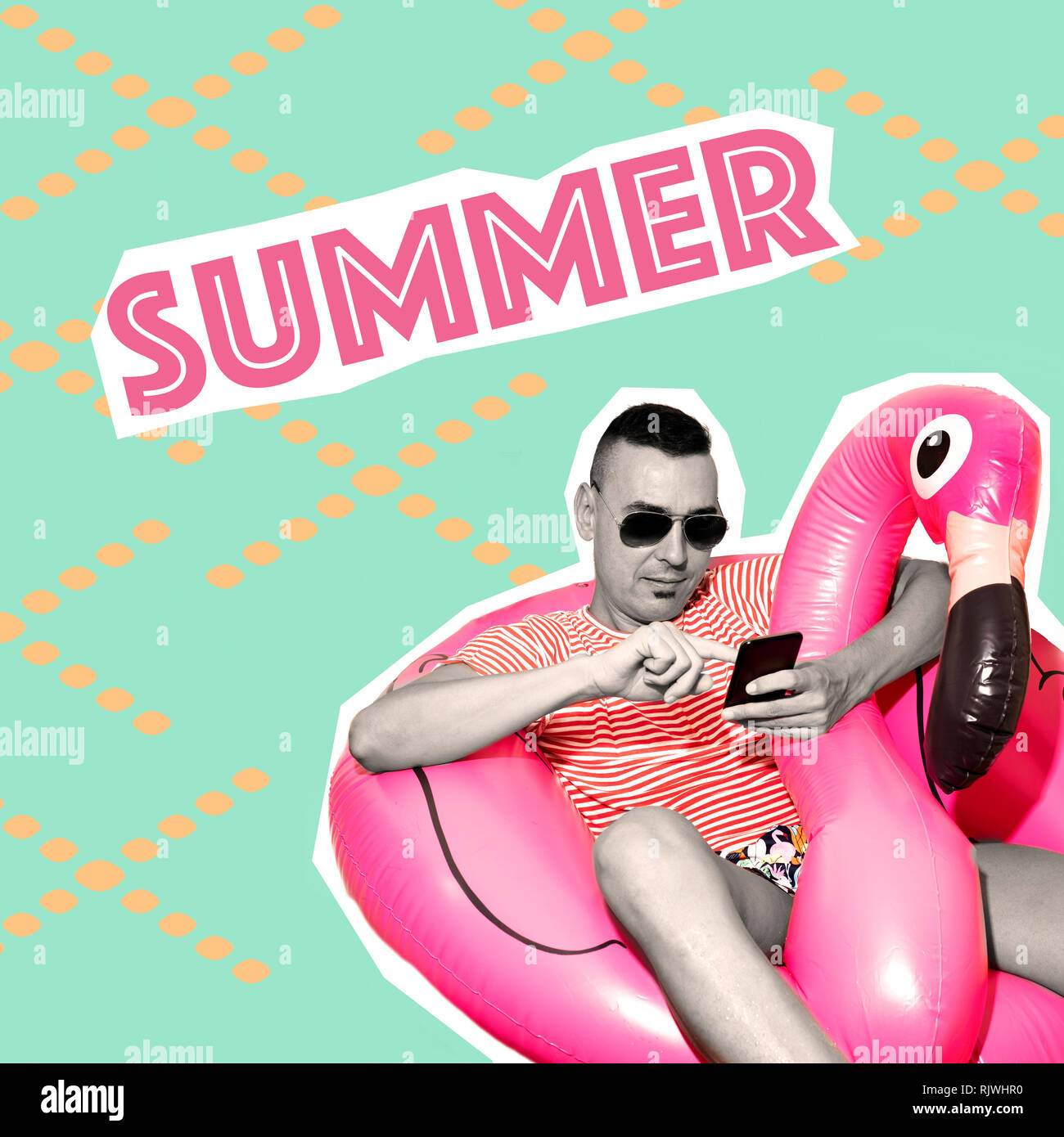 text summer, as a magazine cutout, and a young caucasian man wearing swim trunks resting on a flamingo-shaped swim ring, on a green background pattern - Stock Image
