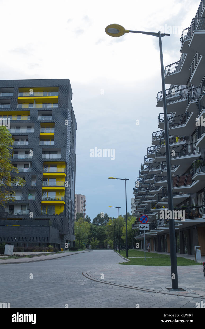 a new build in Warsaw of flats with a yellow theme Stock Photo