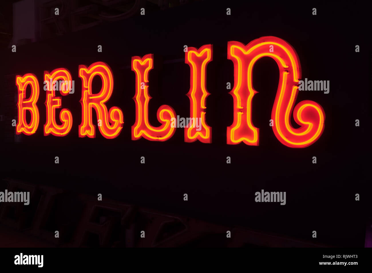 Neon sign of Berlin in Landscape Stock Photo