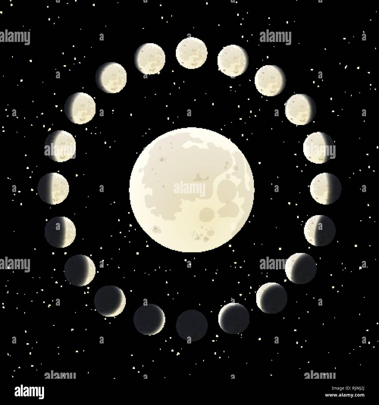 The Moon phase illustration with all range of the lunar life cycle - Stock Image