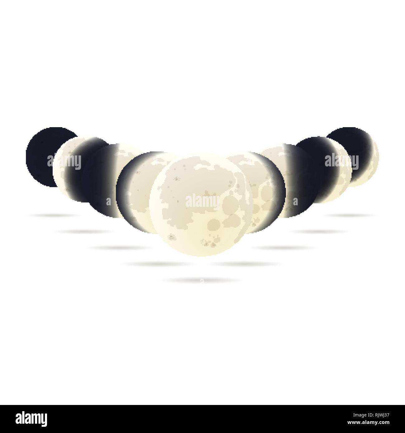Moon phases concept with different lunar positions - Stock Image