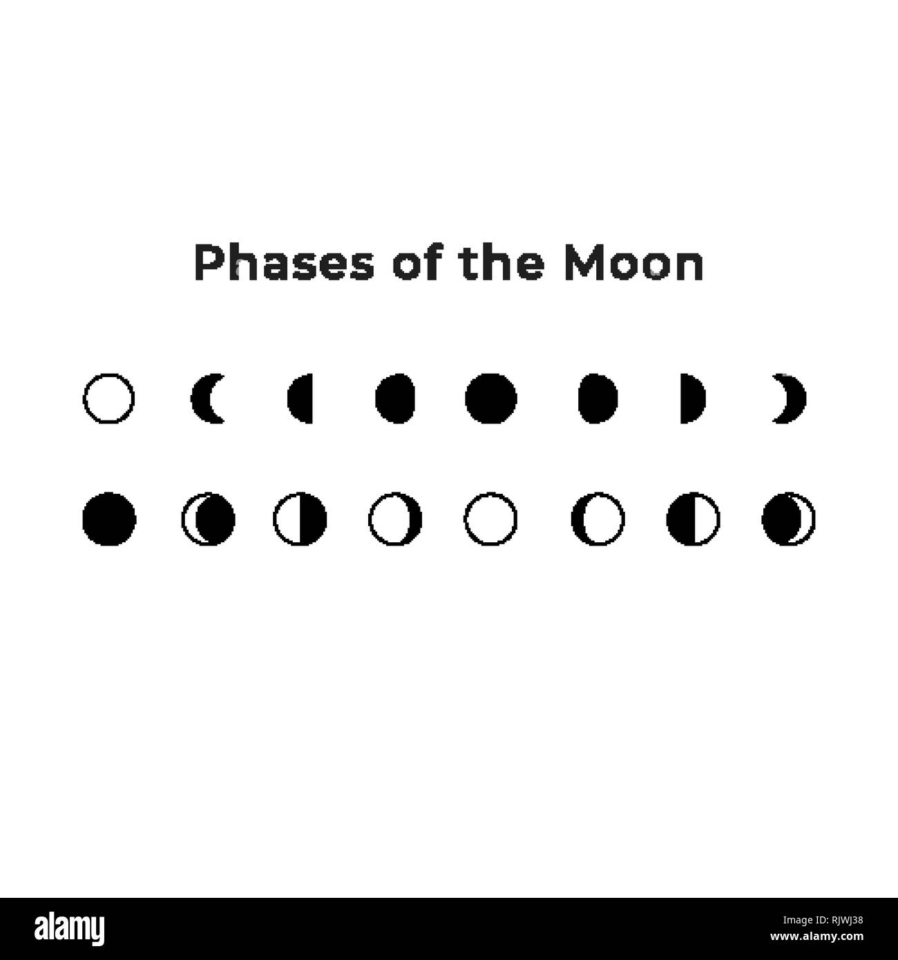 Phases of the Moon illustration. Earth satellite icons - Stock Image