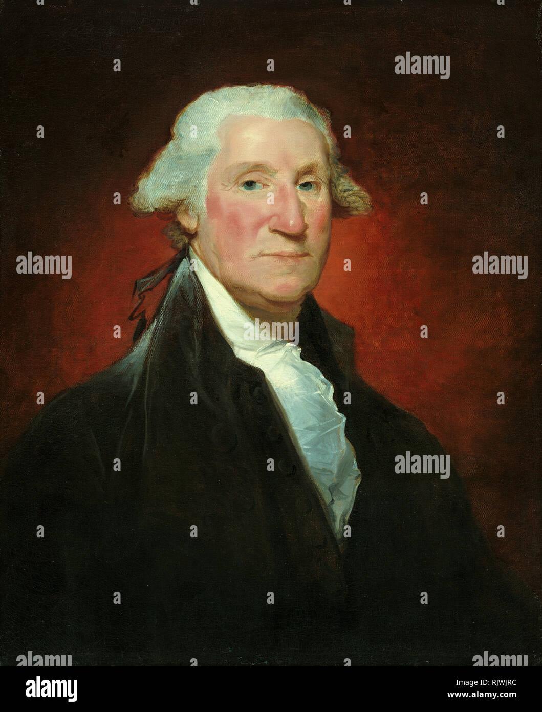George Washington (Vaughan portrait), painting by Gilbert Stuart 1795 - Stock Image