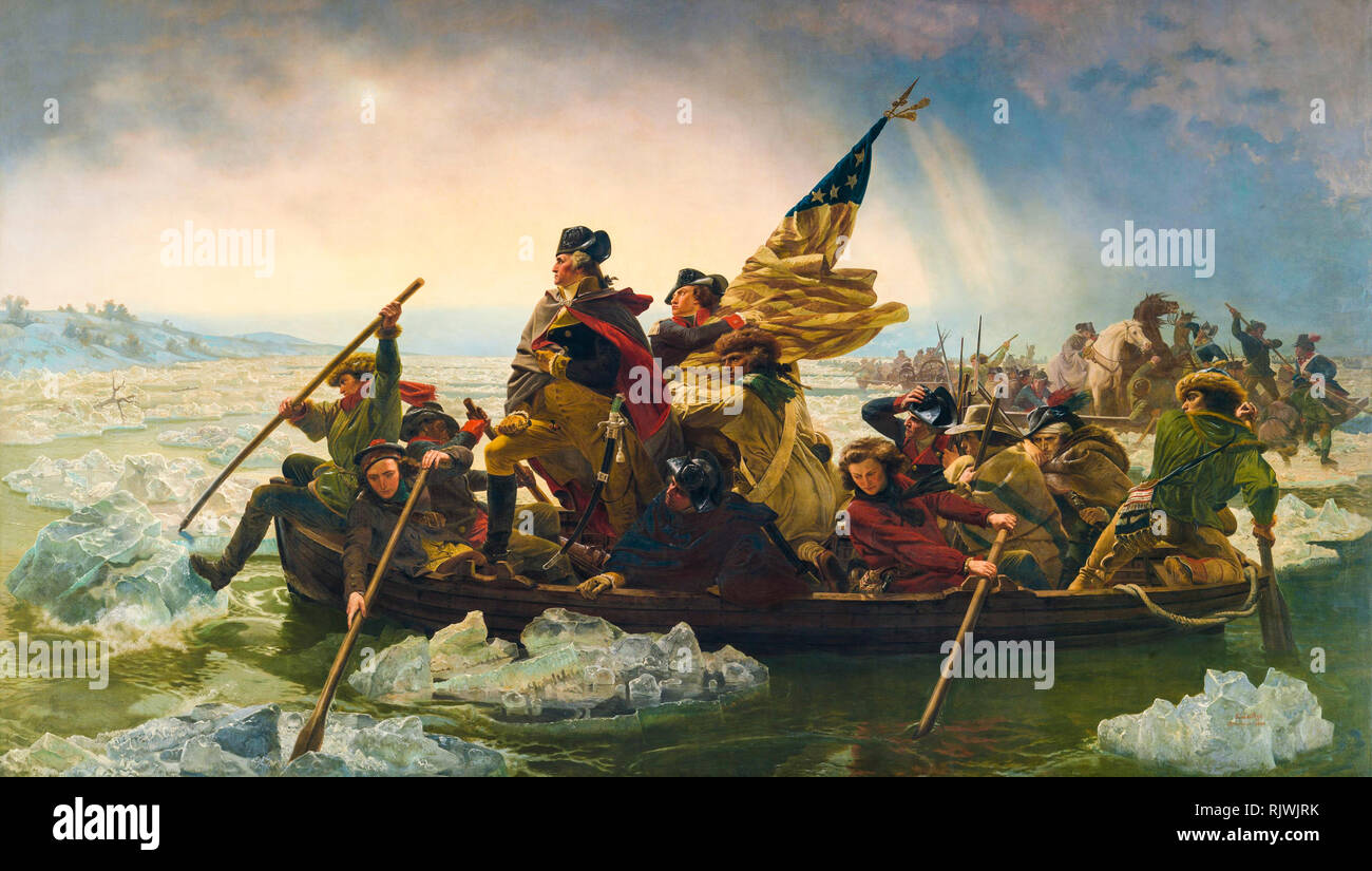Washington Crossing the Delaware, painting by Emanuel Leutze, 1851 - Stock Image