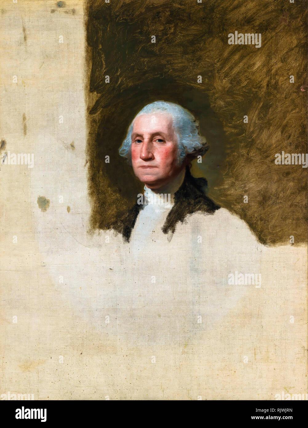 George Washington (The Athenaeum Portrait), Gilbert Stuart, 1796 - Stock Image