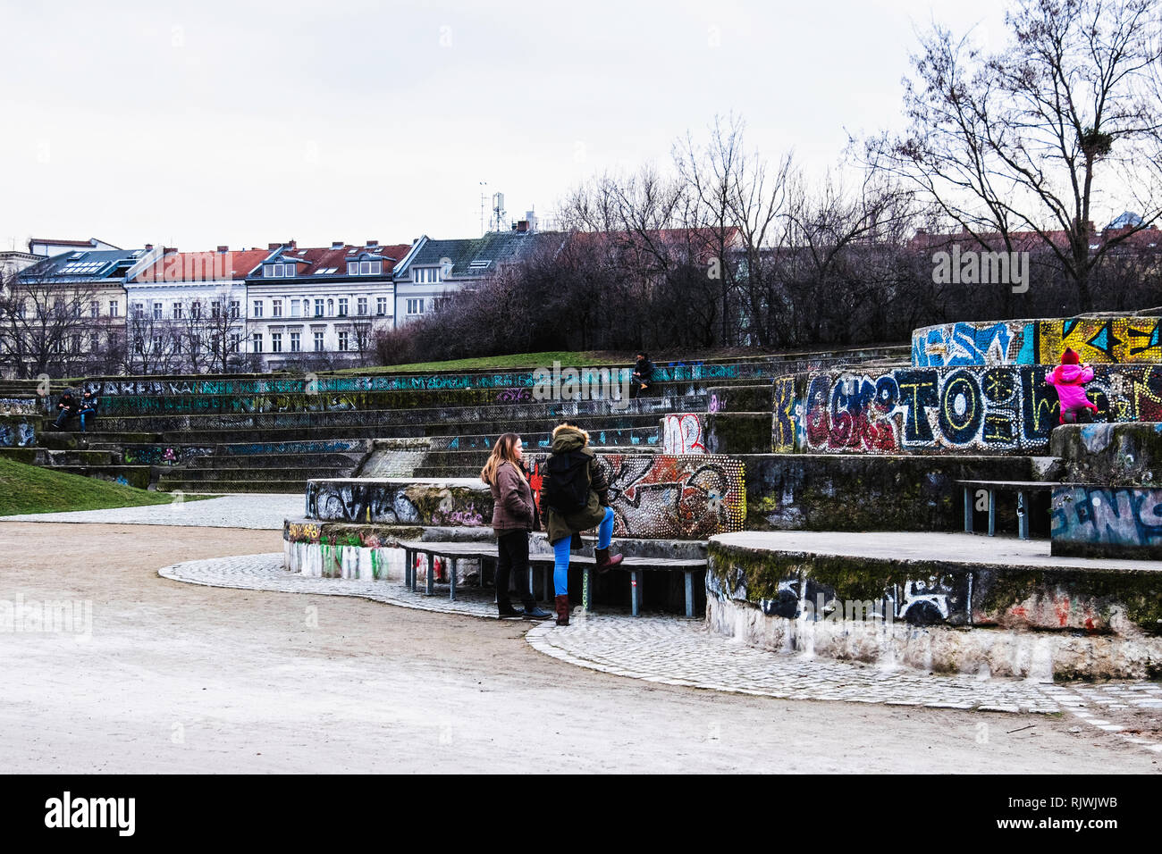 Berlin,Kreuzberg,Gorlitzer Park view with terraced amphithetre-like seating. This was the site of the Pamukkale fountain created by Wigan Witting - Stock Image