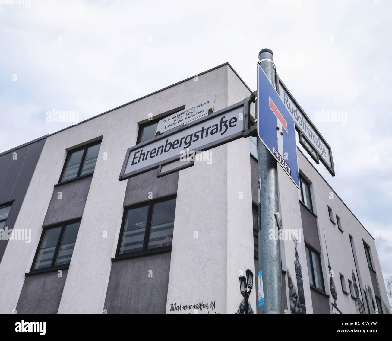 Berlin, Friedrichshain. Ehrenbergstrasse street sign in road named after Christian Gottfried Ehrenberg Scientist & naturalist - Stock Image
