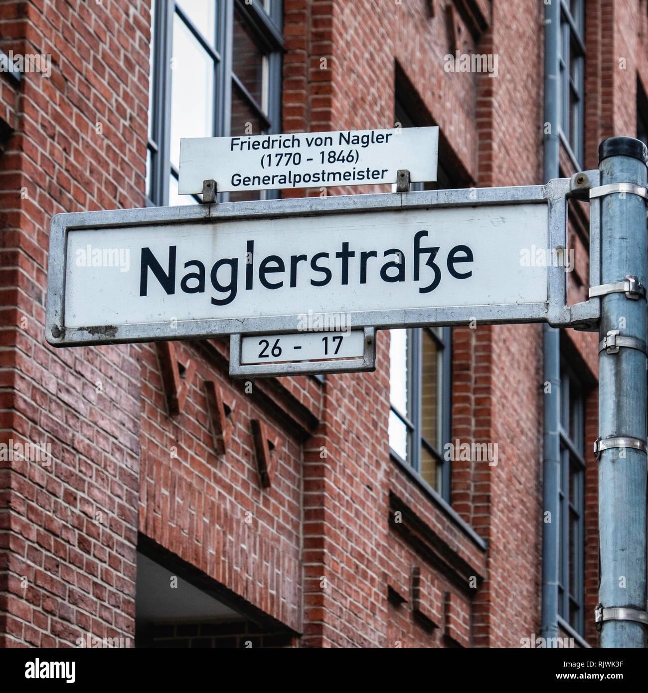 Berlin,Friedrichshain, Naglerstrasse street sign in road named after Friedrich von Nagler, General Postmaster - Stock Image