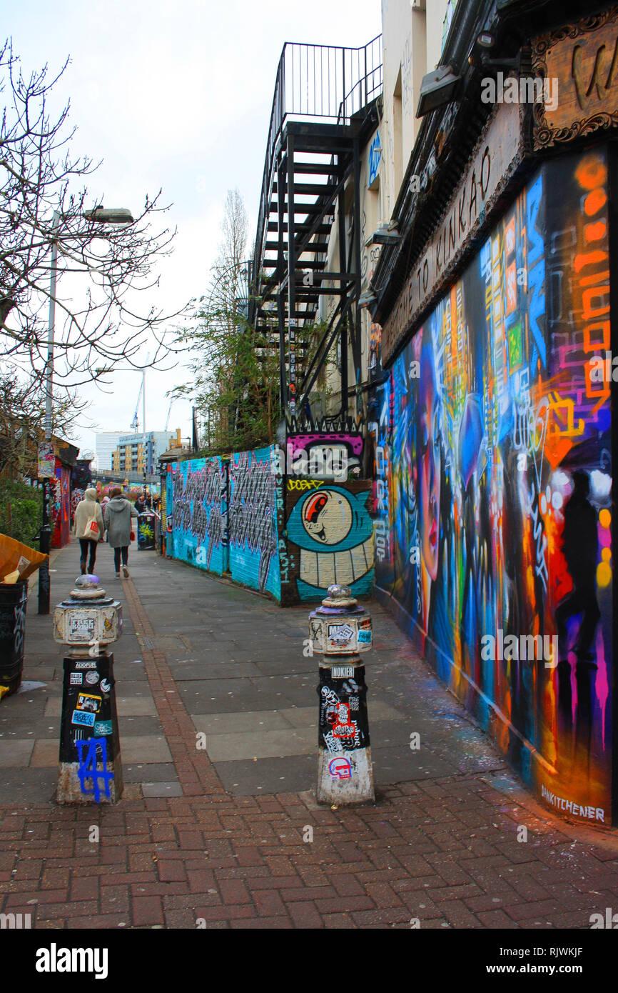 Street art, Brick Lane area, Shoreditch, London Stock Photo