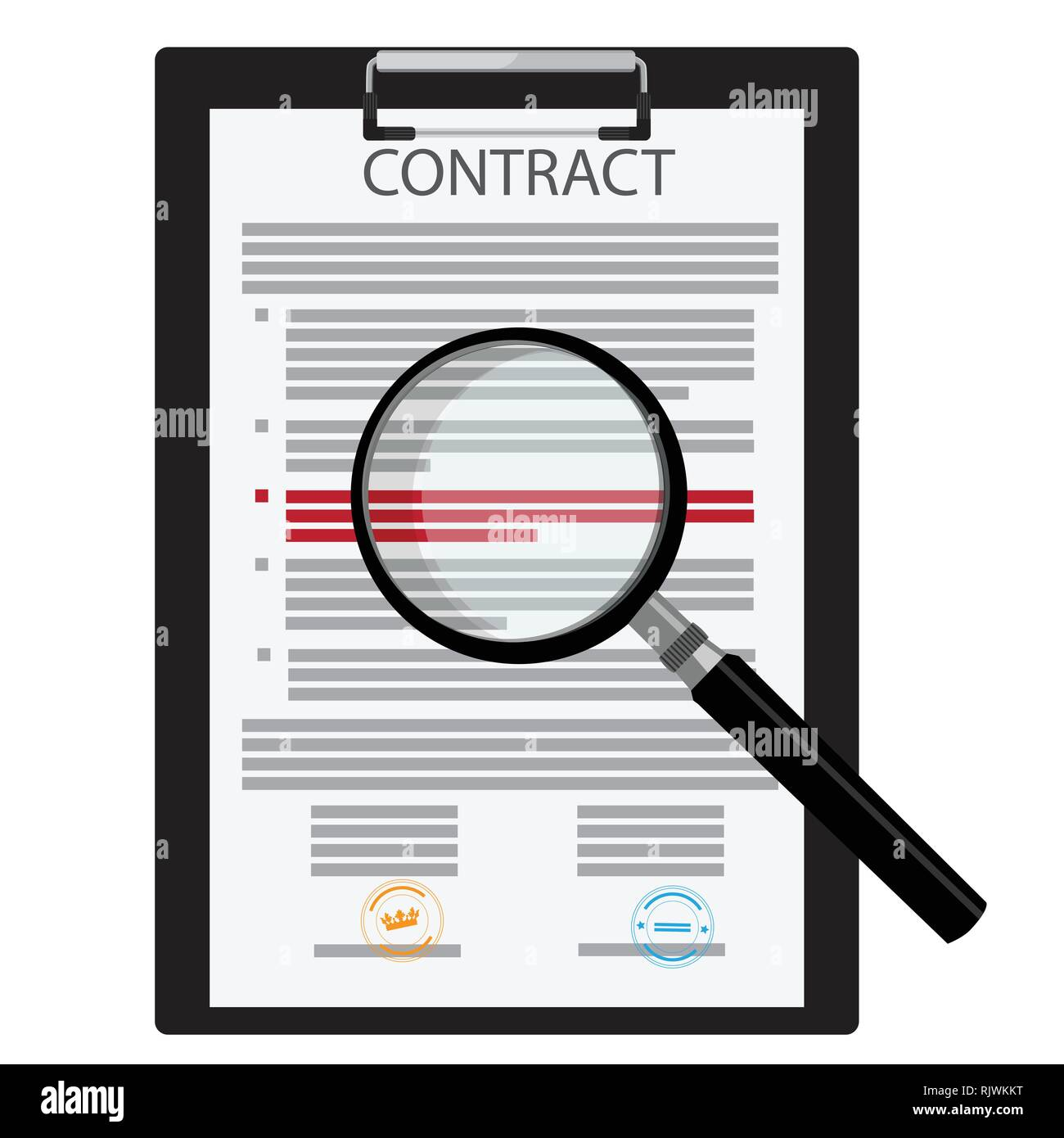 Vector illustration of signed business contract, agreement icon with round stamps on clipboard with magnifying glass. Paper deal Stock Vector