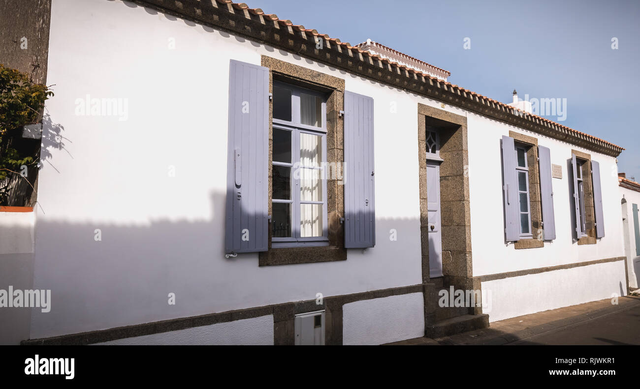 Port Joinville, France - September 16, 2018: architectural detail of the house where Marshal Petain died on July 23, 1951 in the historic city center  - Stock Image