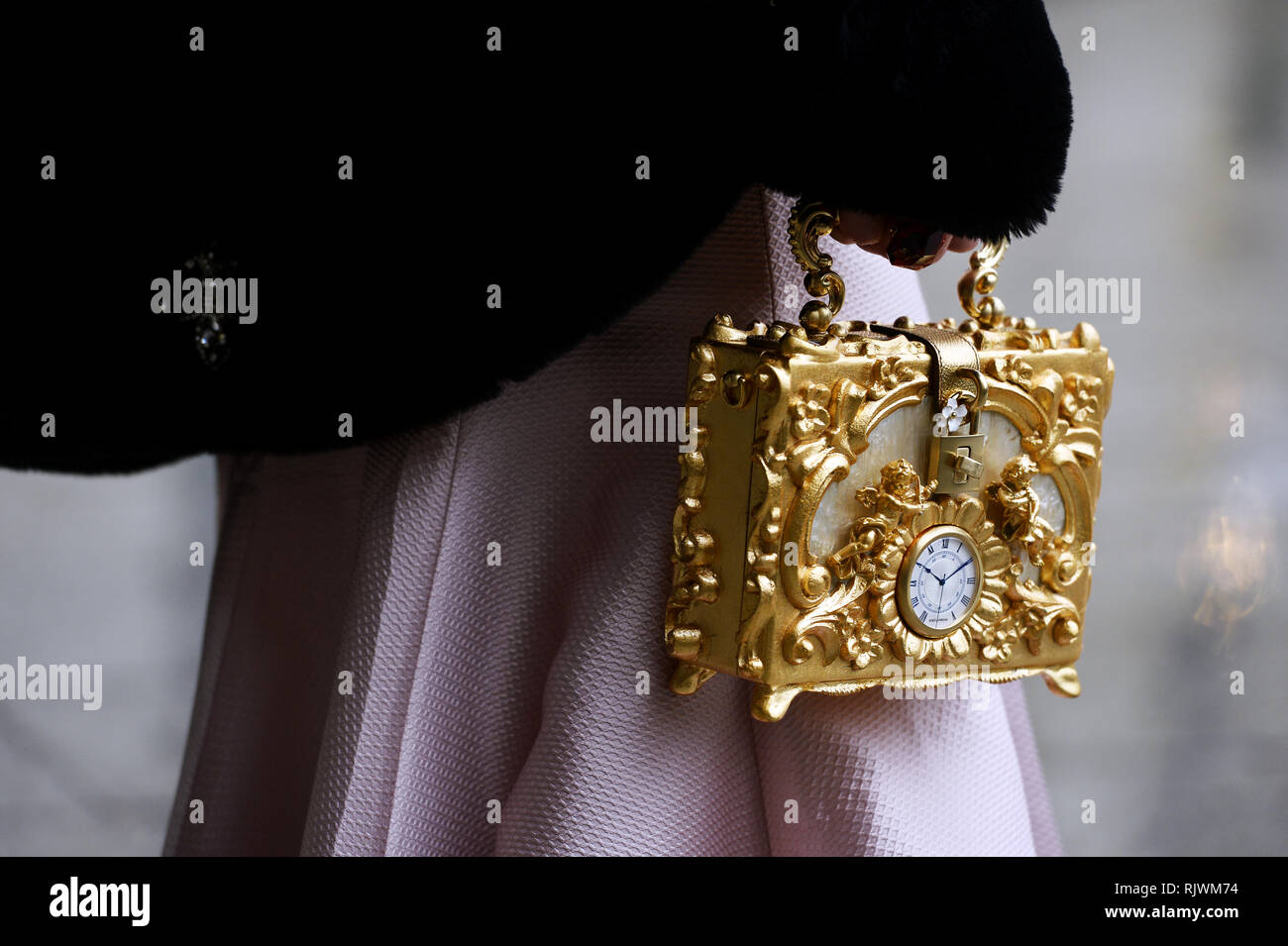 Dolce Gabbana Clock Bag - Streetstyle at Alexis Mabille - Paris Fashion Week - Haute Couture Spring Summer 2019/2020 - Paris - Place Vendôme - Stock Image