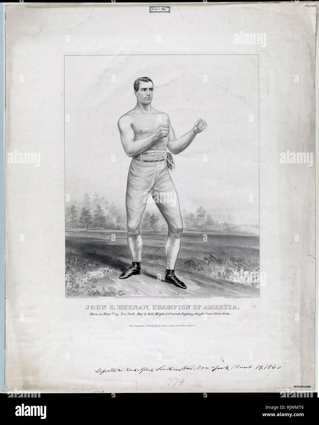 Print shows a full-length portrait of John Carmel Heenan, in boxing stance ca. 1860s - Stock Image