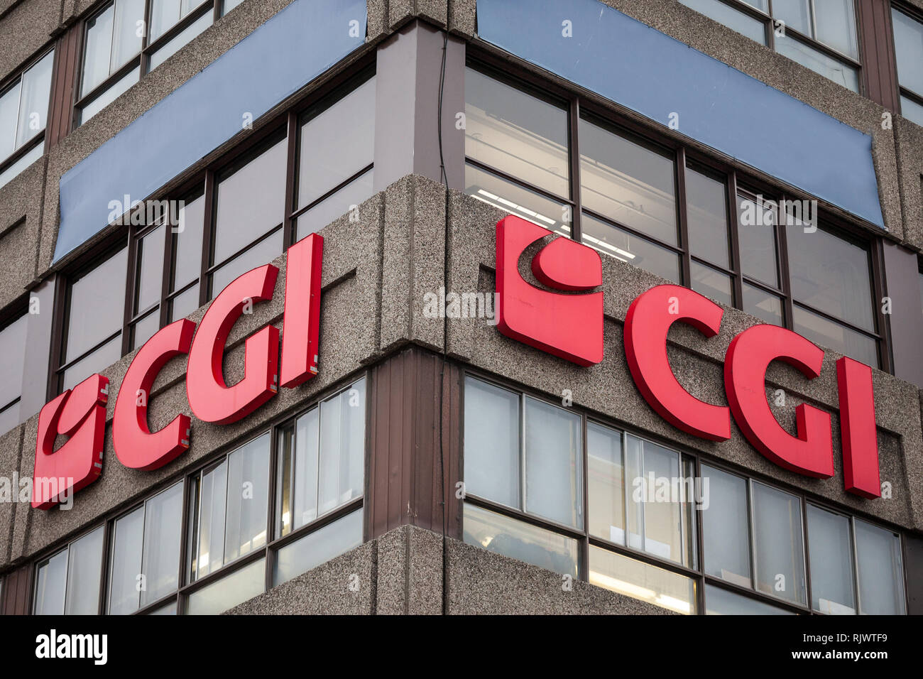 MONTREAL, CANADA - NOVEMBER 9, 2018: CGI Group on their office in Montreal, Quebec. Also known as Conseillers en Gestion Informatique, it is a Canadia - Stock Image