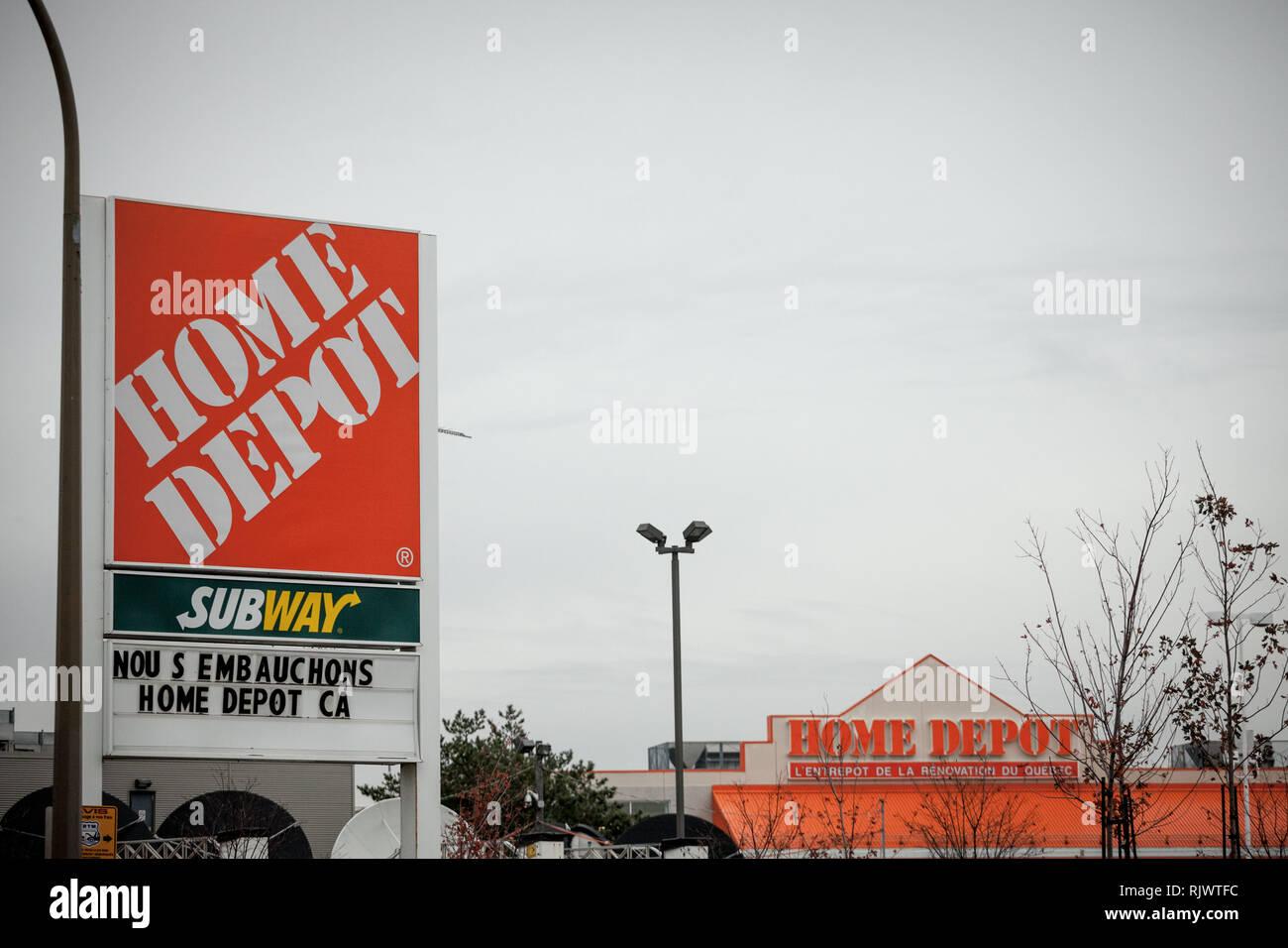 MONTREAL, CANADA - NOVEMBER 9, 2018: Home Depot logo in