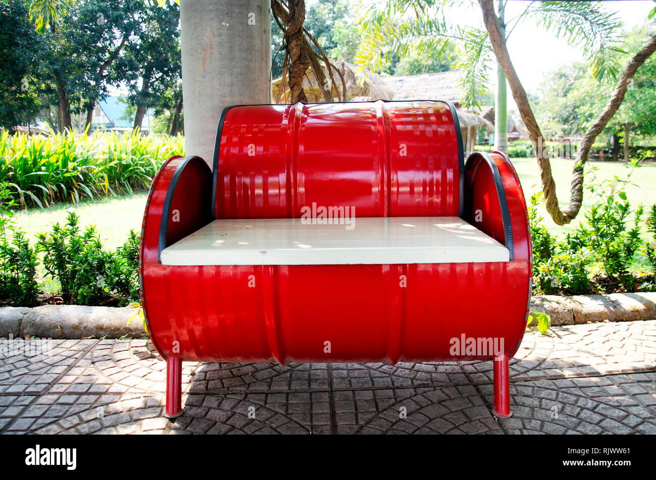 Picture of: Red Metal Bench Decoration And Furniture In Public Garden Park Made From Gas Oil Iron Tank In Sing Buri Thailand Stock Photo Alamy