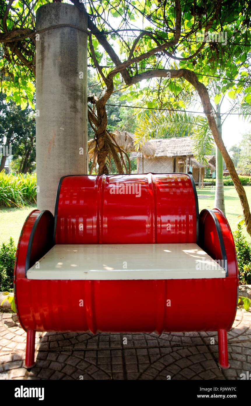 Red Metal Bench Decoration And Furniture In Public Garden Park Made From Gas Oil Iron Tank In Sing Buri Thailand Stock Photo Alamy