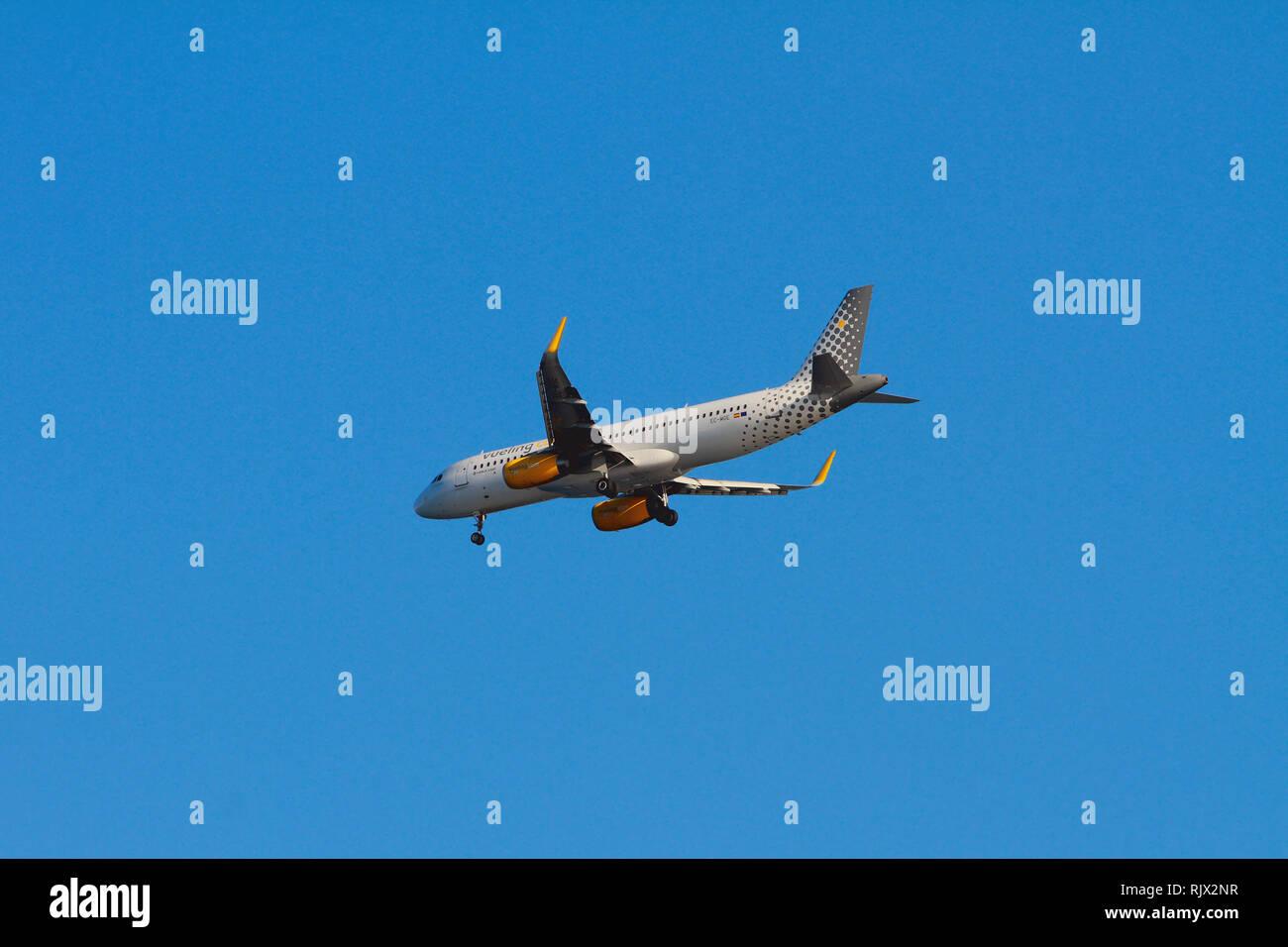 Palma-de-Mallorca, Spain - Oct 02, 2018: Plane of Vueling Airlines company when landing - Stock Image