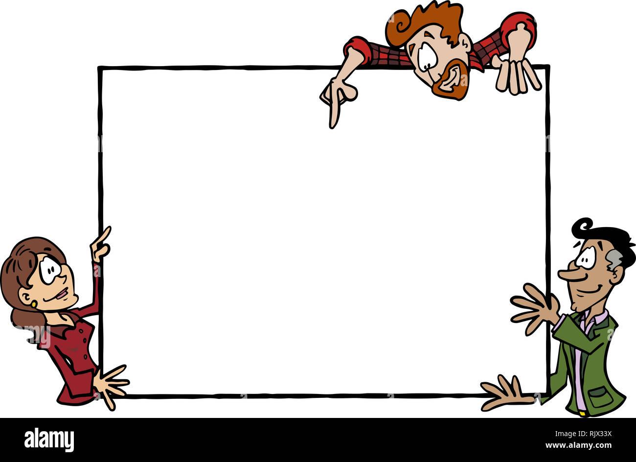 Empty billboard held by three cartoon characters Sophie, Mark, Manuel - Stock Image