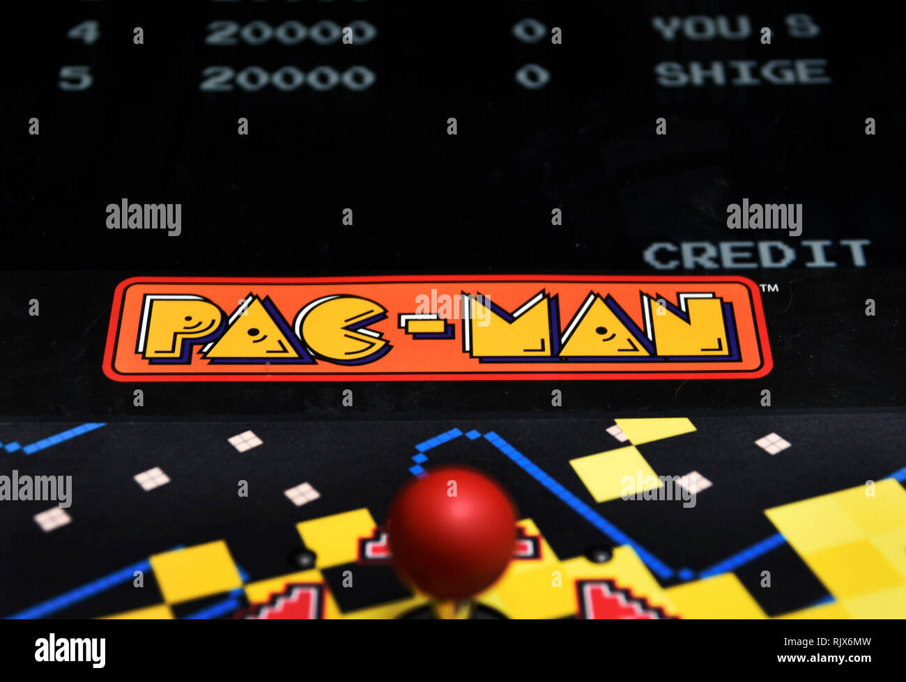 Detail of Pac-Man arcade machine in a mall in USA - Stock Image