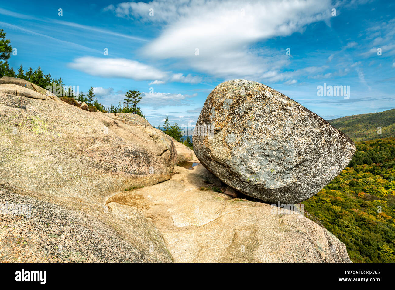 Bubble Rock in Acadia National Park - Stock Image