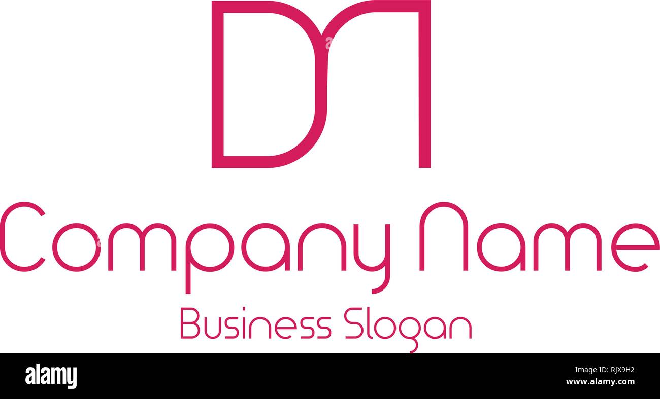 DM logo vector graphics. DM Branding. MD logo. Pink logo in white background. - Stock Image
