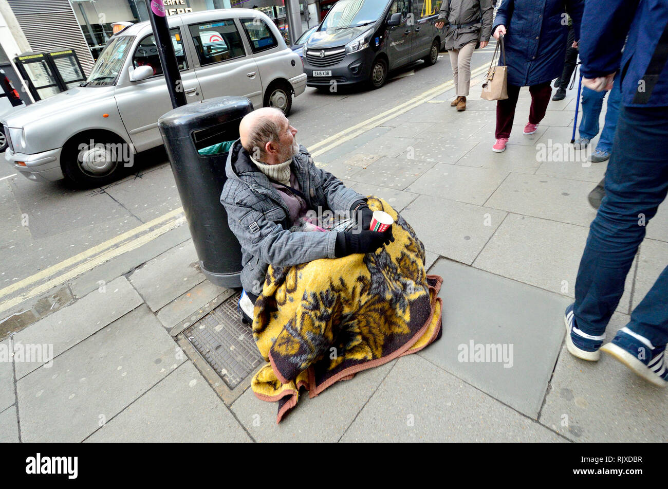 London, England, UK. Homeless man in central London - Stock Image