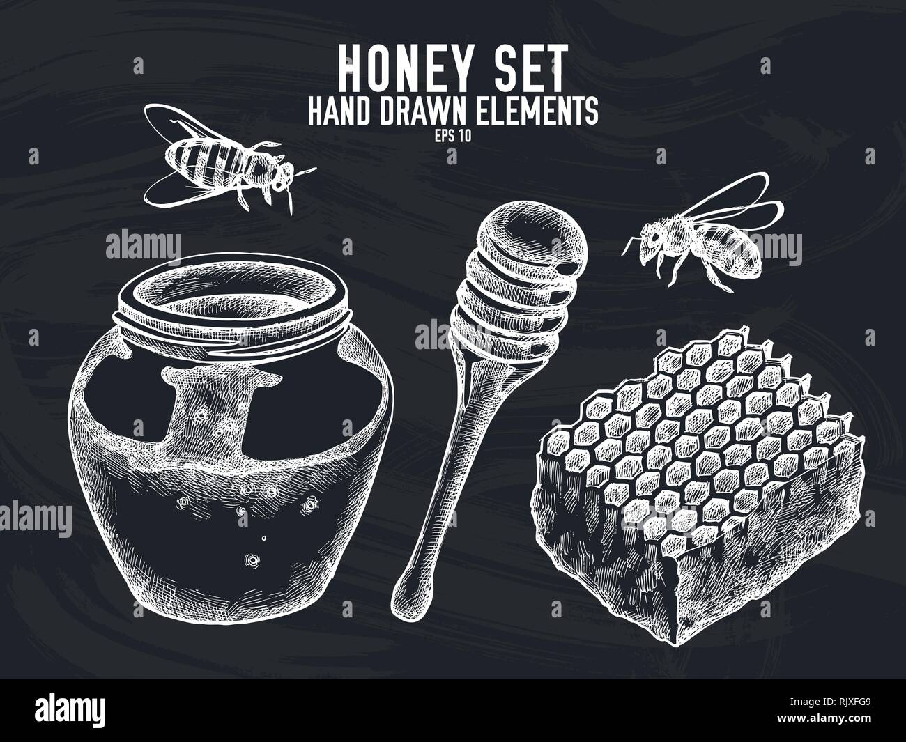 Vector collection of hand drawn chalk honey - Stock Vector
