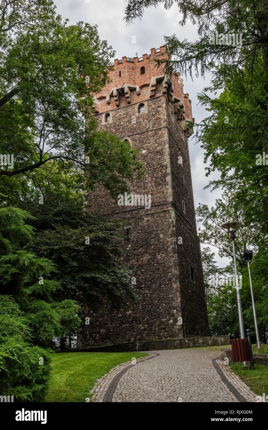 Wieża Piastowska w Cieszynie w Polsce przy granicy polsko - czeskiej - Stock Image